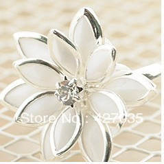 Accessories fresh xuelian flowers  crystal ring open ring finger ring