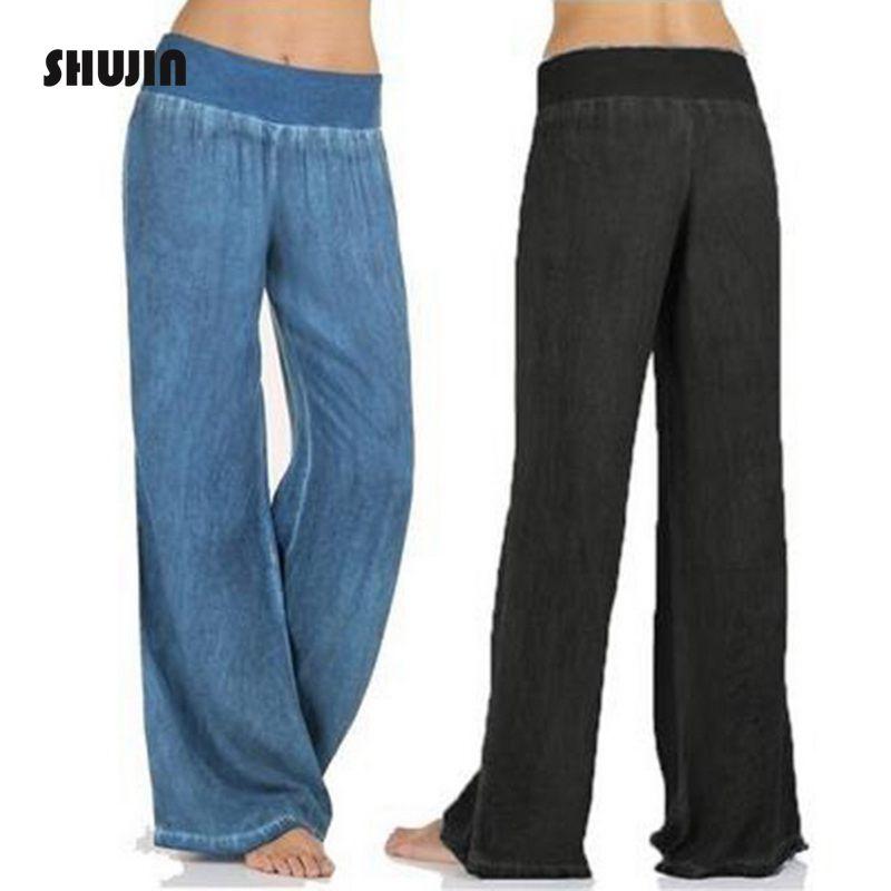 SHUJIN 2018 Casual Loose   Wide     Leg     Pants   Women Plsu Size 5XL Fashion Blue Black   Pants   Trousers Female Baggy Jogger Sweatpants