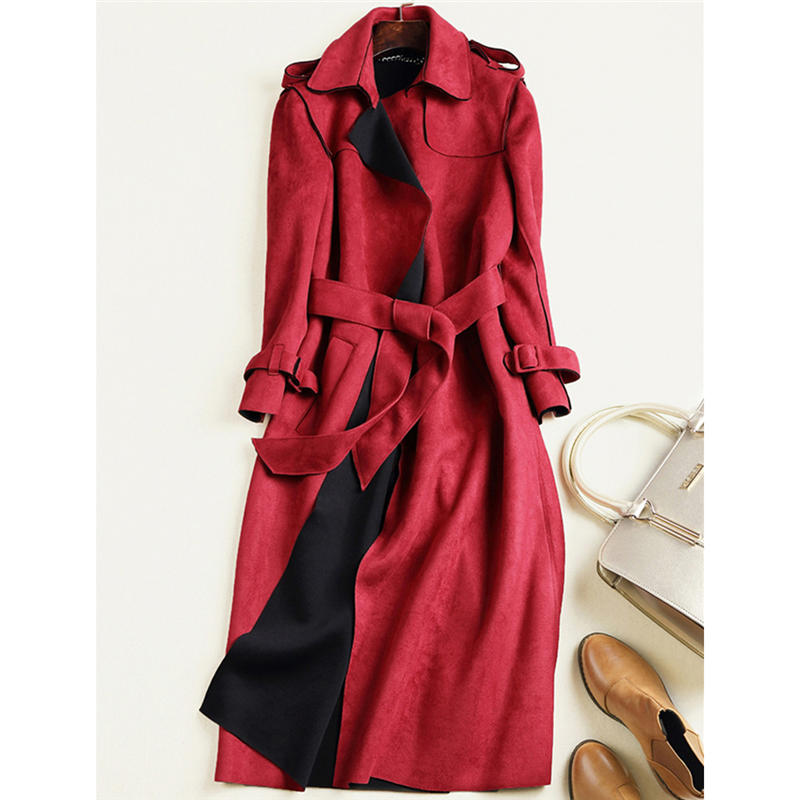 2019 New Autumn Suede   Trench   Coat Women Abrigo Mujer Long Elegant Outwear Female Overcoat Slim Red Suede Cardigan   Trench   Spring