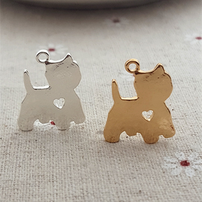 High Quality 10 Pieces/Lot 12mm*18mm Gold and Silver Color big-faced cat Charms For Jewelry Making
