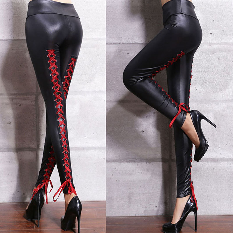 Sexy Lace-Up Moto Biker Leggins Female Faux Leather Leggins  Autumn High Waist Elastic Women Legging Bandage Stretch Leggings