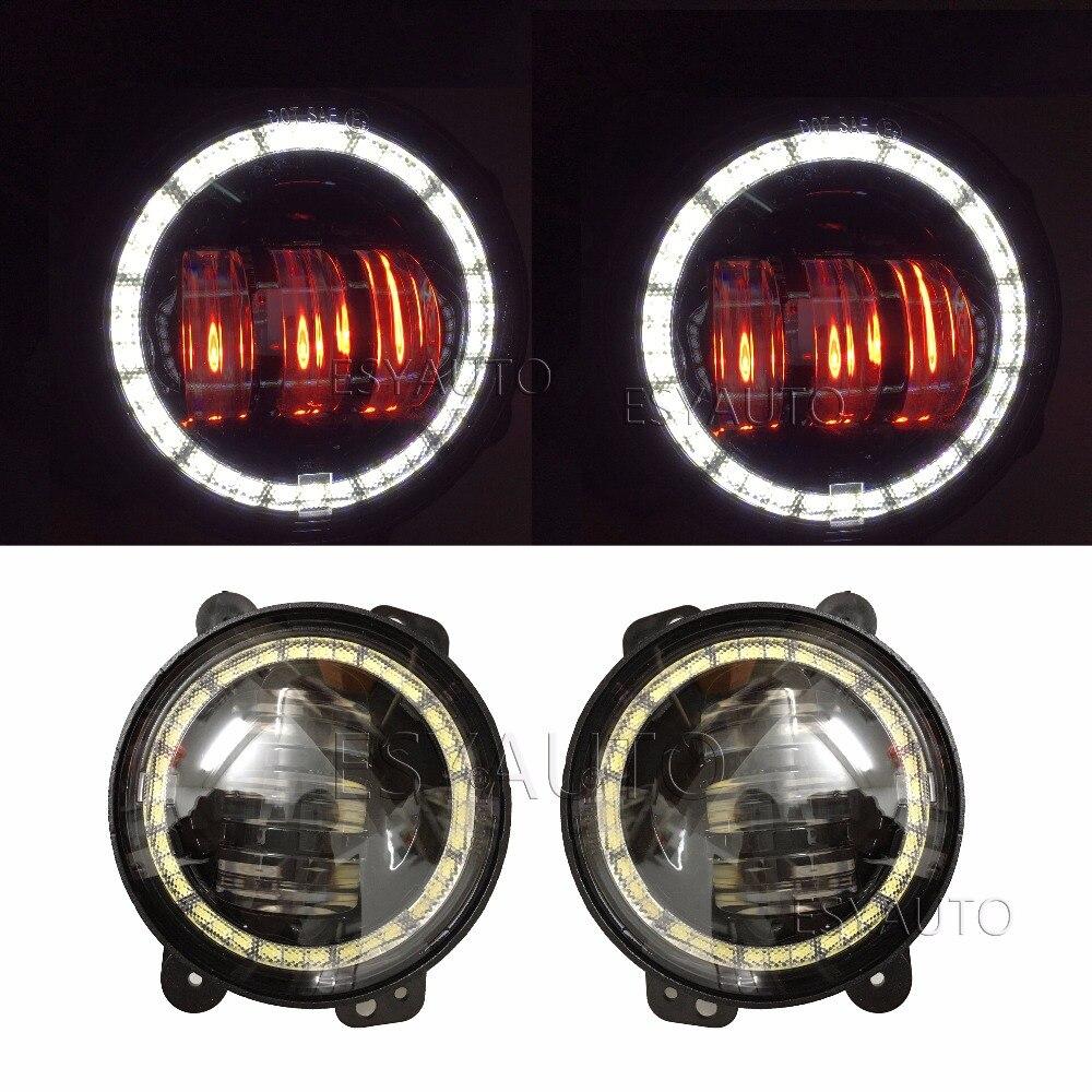 Продвижение ! Сайт new1 набор 30W круглая 4 LED туман света белый DRL и Янтарный глаза ангела для Jeep Вранглер JK