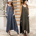 SCUWLINEN Vestidos 2017 Summer Dress Women Sleeveless Tank Linen Dress Irregular Hem Beach Party Dress Maxi Long Women Dress S17