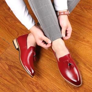 Image 5 - Мужские модельные туфли; Мужские свадебные туфли из лакированной кожи в британском стиле; Мужские кожаные оксфорды на плоской подошве; Официальная обувь
