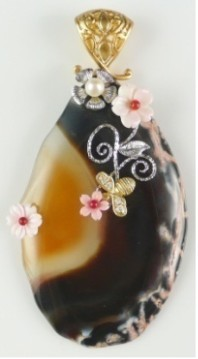 все цены на Natural Semi-precious Stone Brooch Pins Shell Flower Pins Free Shipping онлайн