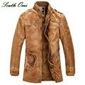 Leather Jackets Men Coats Winter Warm Motorcycle Leather Jacket Men's Fashion Luxury Leather Mens Fur Coat Distressed PU Jacket