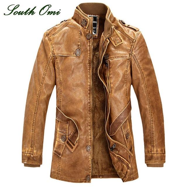 Aliexpress.com : Buy Leather Jackets Men Coats Winter Warm ...