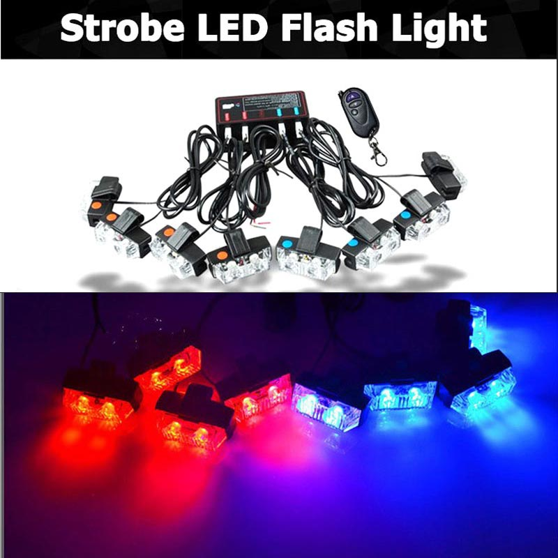 ФОТО 16W Wireless 16LED Super power Strobe flash led warning light Car Working light DRL Strobe Police Fireman daytime running light