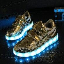 Détail 2017 enfants led lumière shoes shoes de jeune fille USB chargeur allumé enfants sport shoes lumineux shoes taille 26-35