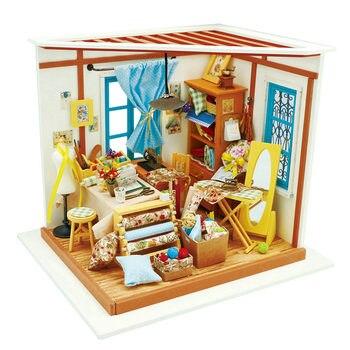 Robotime DIY casa Sastre tienda madera miniatura decoración para casa de muñecas accesorios regalo para niños DG101