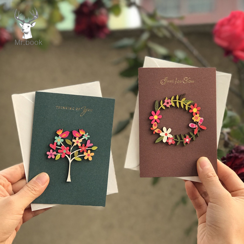 5pcs 3D Kraft Paper Invitation Greeting Card Handmade DIY Wood Carving Flower Patch Valentines Day Wedding Party Invitation Card