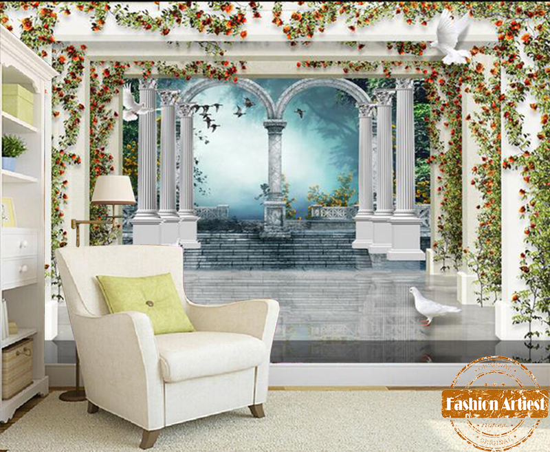 Aliexpress Buy Custom 3d Roman Pillar Wallpaper Mural Vintage Rose Wall Palace Pigeon Tv Sofa Bedroom Living Room Cafe Restaurant Background From