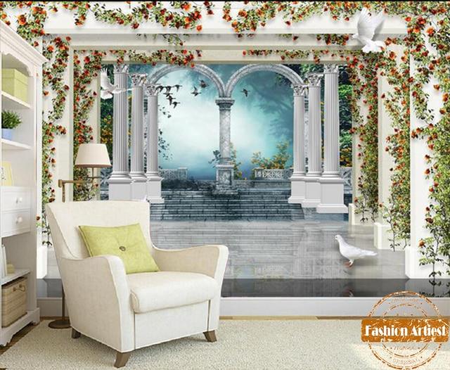 Custom 3d Roman pillar wallpaper mural vintage rose wall palace ...