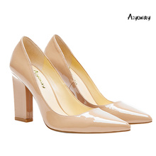 Aiyoway Women Shoes Pointed Toe Square High Heels Nude Patent Leather Slip-On Sexy Ladies Autumn Spring Party 2019 New