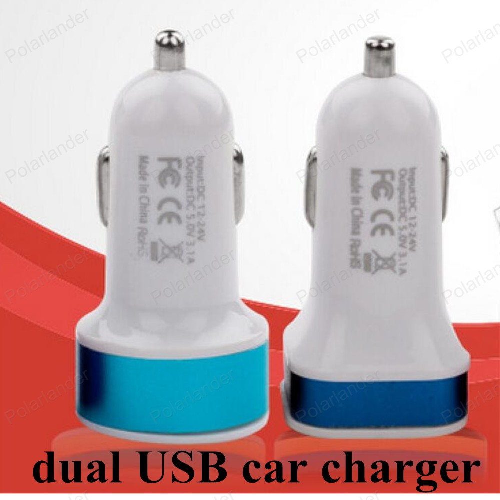 Fashion 12V 1.0A 2.1A double aluminum & number ports USB Universal circular car charger for small phone iPhone and Andrews