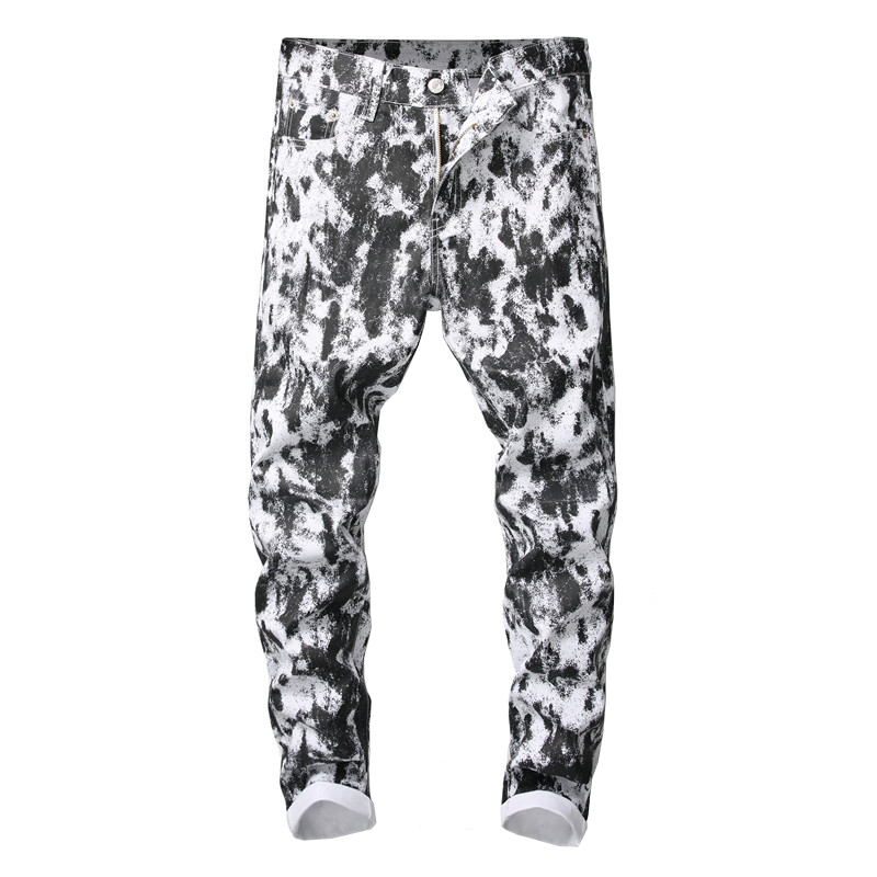 Sokotoo Men's Black Spots Printed White Jeans Fashion Slim Fit Stretch Cotton Denim Pants