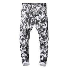 White Jeans Sokotoo Denim Pants Slim-Fit Stretch Black Men's Cotton Fashion Print