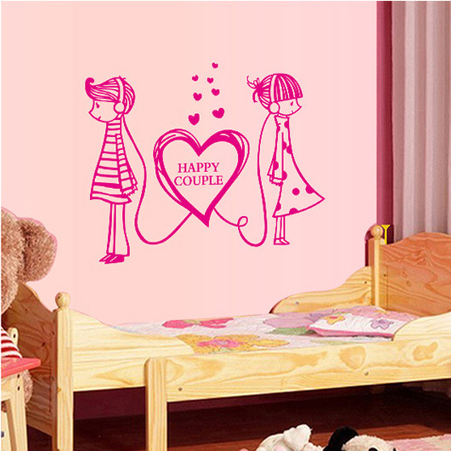 Free Shipping Heart LOVE Girl and Boy Art Wall Stickers Pink ...