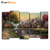 5D DIY Diamond Painting Pictures Of Rhinestones Mosaic Embroidery Handmade Wall Stickers 5PCS Multi Picture Landscape