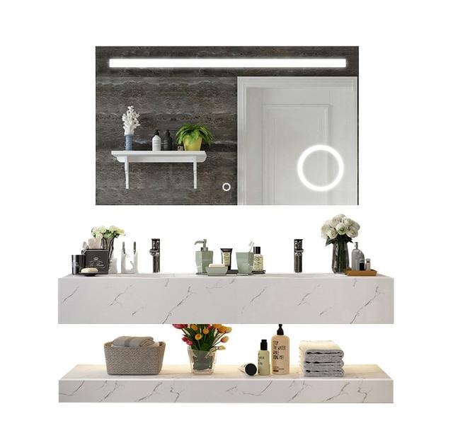 Diyhd Wall Mount Led Lighted Bathroom Mirror Vanity Defogger Square
