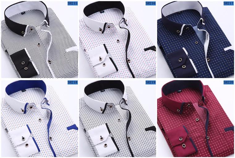 2018 Men Fashion Casual Long Sleeved Printed shirt Slim Fit Male Social Business Dress Shirt Brand Men Clothing Soft Comfortable 4
