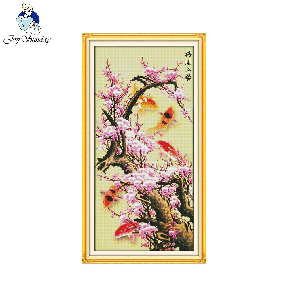 Joy Sunday Blooming Plum Flower With 5 Fishes Stamped Counted Cross Stitch Sets For Embroidery Home Decoration Needlework