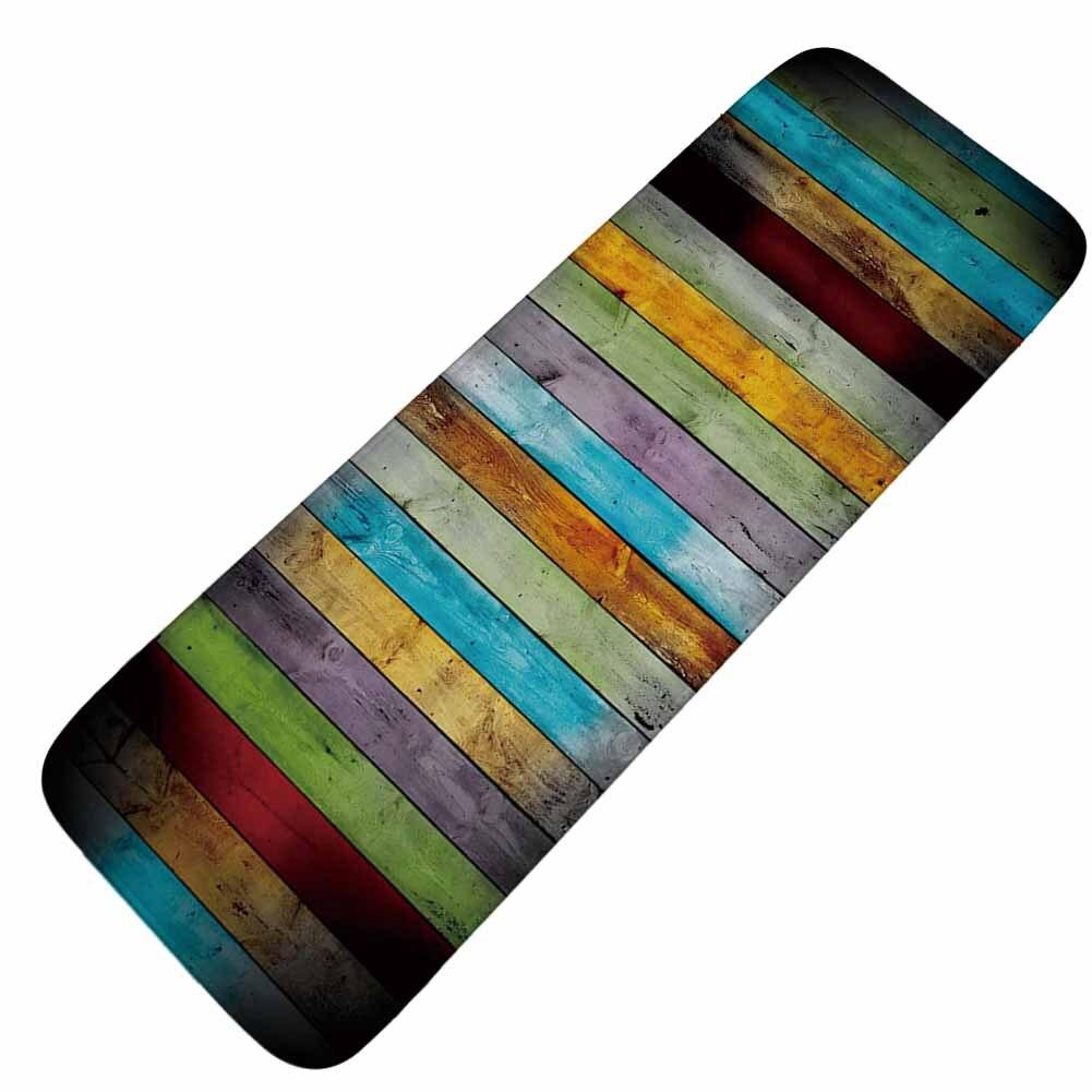 Honlaker Color Tree Plank Retro Kitchen Long Mat Absorbent