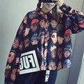 2016 куртка женщин Новая мода Палм Кокосовые пальмы Pattern Печати Люрексом Бейсбол равномерное куртка бомбардировщика пальто chaquetas mujer