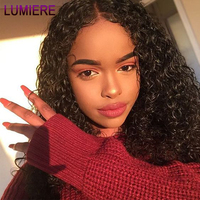 Lumiere Hair Water Curly Brazilian Lace Front Human Hair Wigs Remy Curly Hair Wig With Baby Hair Pre Plucked #1B Black For Women