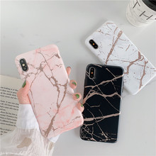 Gilding marble Phone Case for iphone X XS Max XR 6 6s 7 8plus case Matte TPU soft Silicone Capa Back cover For