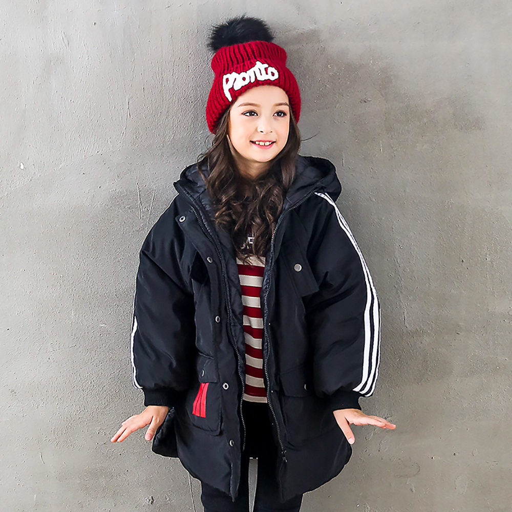 B-B17082 Girls Kids Autumn Solid Color Cotton Jackets Long Sleeve Winter Jacket Casual Coat Keep Warm Outerwear plus size casual women long cotton jackets 2017 autumn winter new hooded thicker coat full sleeve loose warm cotton coat qh0446