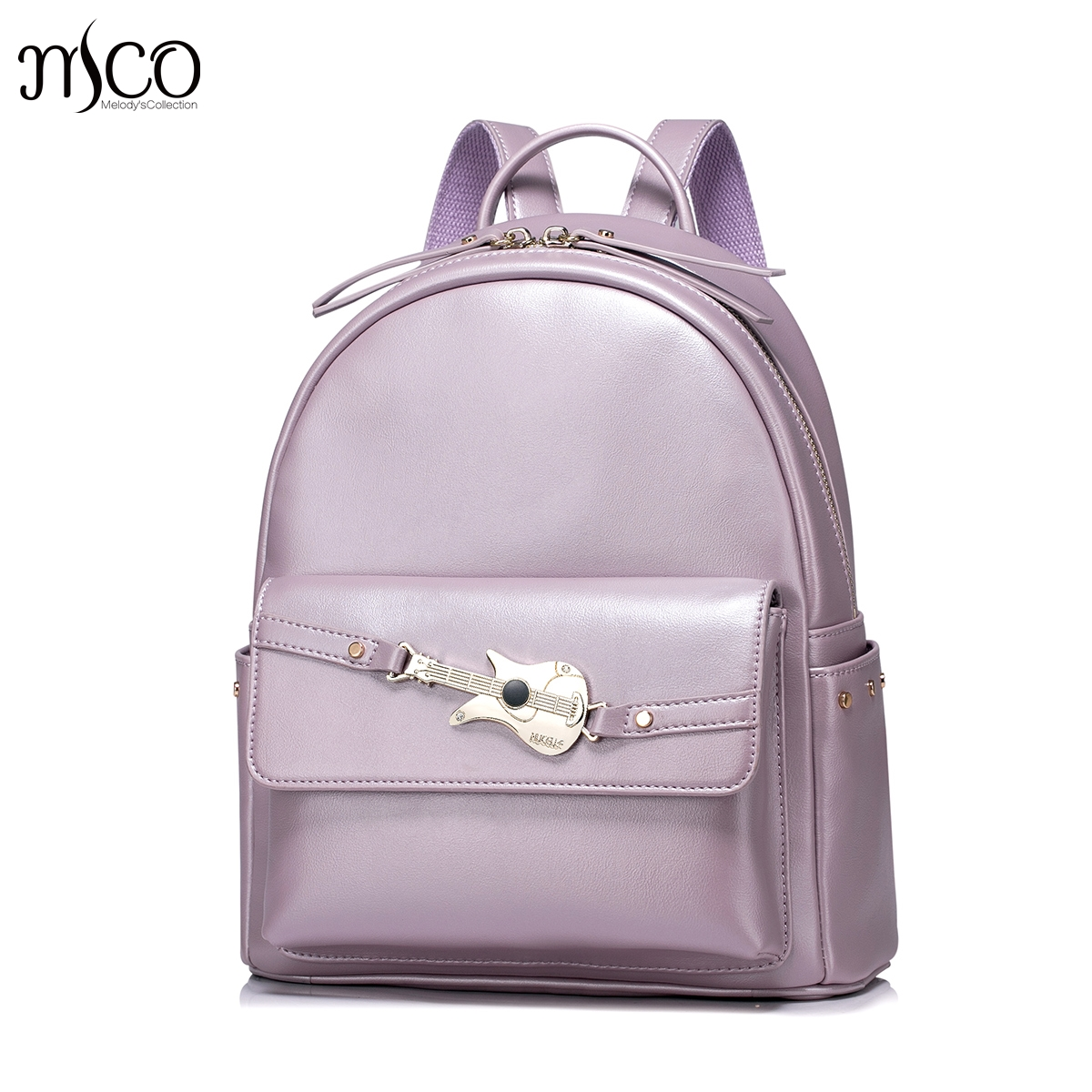 Women PU Leather Backpack Fashion Guitar Female Elegant Daily Box Shoulder Bags Ladies Daypack Girls Rivets Travel Rucksack mma backpack box ing shoulder ufc memory gifts daypack for friends