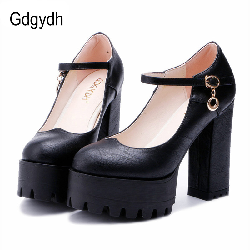 Gdgydh Good Quality 2017 Spring High Heels Women Shoes Large Size Thick Heel Platform Women Pumps Casual Shoes Russian Party gdgydh spring fashion high heels pumps women ankle strap 2017 new thick high heeled shoes casual stella platform shoes woman