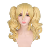 QQXCAIW Long Wavy Cosplay Mixed Blonde Wig Costume 2 Ponytails Heat Resistant Synthetic Hair Wigs