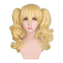QQXCAIW długie faliste Cosplay mieszane blond peruka kostium 2 kucyki żaroodporne syntetyczne peruki do włosów
