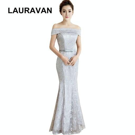 Gris femmes hors de l'épaule demoiselle d'honneur sirène adultes femmes robe formelle dentelle longue robe de cou de bateau pour mariage nouveau produit 2019