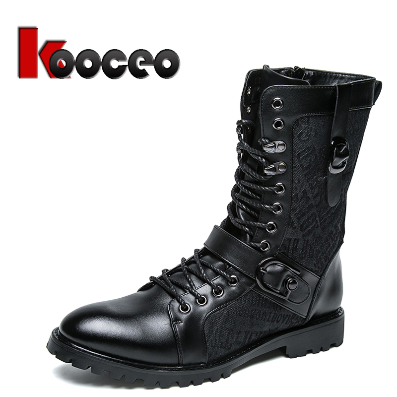 Men's Jodhpur Motorcycle Harness Boots Cotton Padded Boots Outdoor Safety Work Warm Winter Leather Lace Up High top 6 inch Black