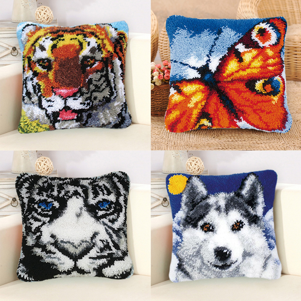 Baosity Funny Latch Hook Kits Cushion Pillow Case Making for Adults Beginners Kids 17x17 Tiger White