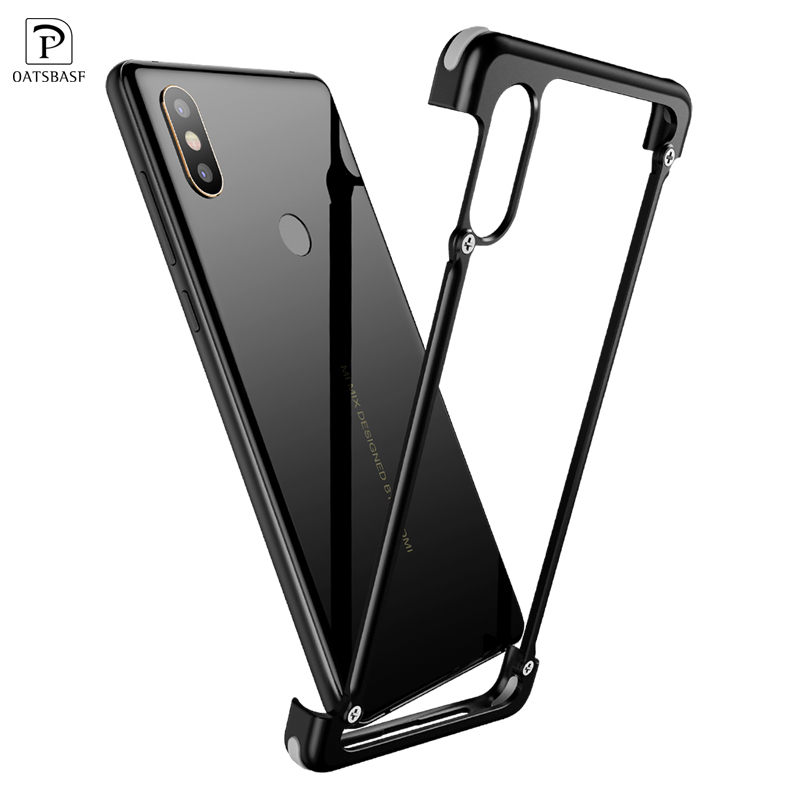 OATSBASF Airbag Bumper Metal Case For Xiaomi Mi Mix 2s Case Personality Metal Cover Case for Xiaomi Mi Mix 2s 360 Degree Case