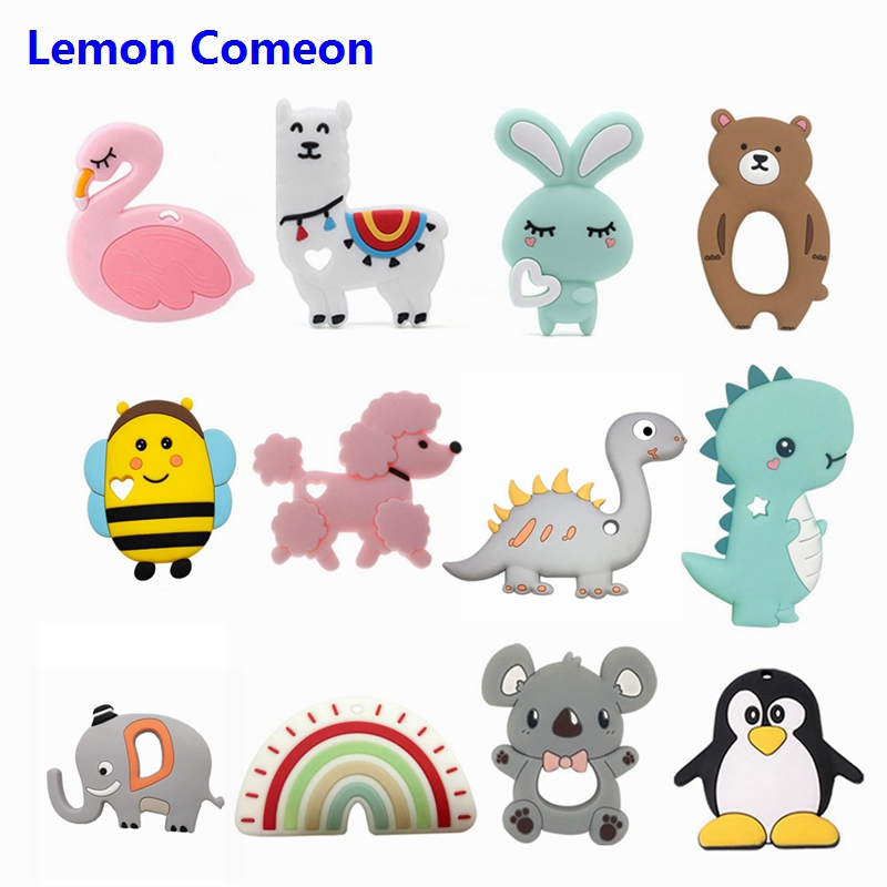 BPA Free Silicone Teether Koala Sheep Bee Teething Beads Baby Teether Animal Rabbit Chewing Toy Nursing Product 1PC Dropshipping in Baby Teethers from Mother Kids