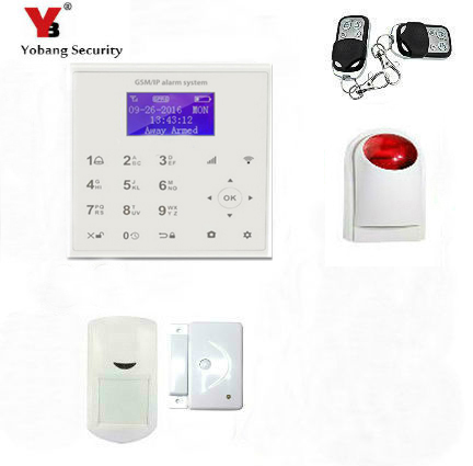 YobangSecurity APP Control WIFI GSM Home Security Alarm Touch Pad Burglar Security Alarm System with Door Sensor Wireless Siren yobangsecurity wifi alarm system wireless flash siren gsm burglar alarm g90b touch keypad app pir detector door gap sensor