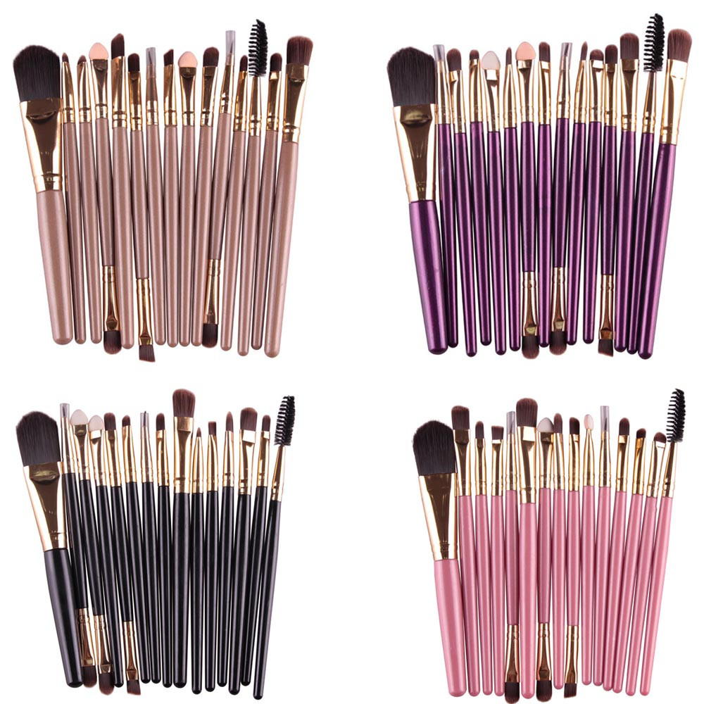 15 Pcs/sets Eye Shadow Foundation Eyebrow Lip Brush Soft Hair Professional Makeup Makeup Brushes Tool High Quality Newest