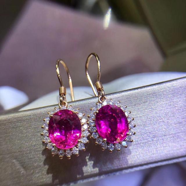 Rubillite Earrings Pure 18 K Gold Natural Red Tourmaline Gemstones 3 9ct Drop Earrings diamonds Jewelry.jpg 640x640 - Rubillite Earrings Pure 18 K Gold Natural Red Tourmaline Gemstones 3.9ct Drop Earrings diamonds Jewelry for Women Fine Earrings