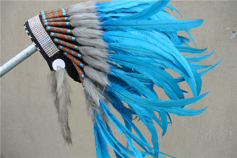 21 inch high turquoise Indian feather Headdress native american ...