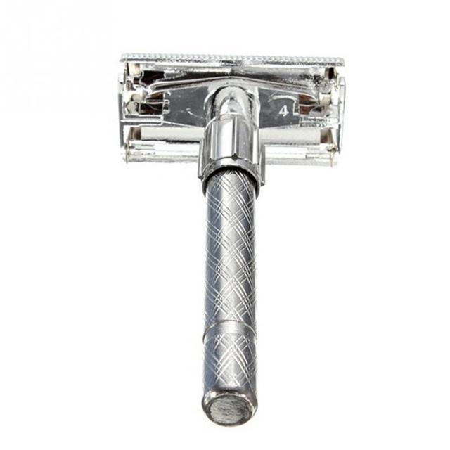 Big sale High Quality Silver Mens Classic Old Style Safety Manual Beard Shave Double Edge Blade Hair Razor with Box 1