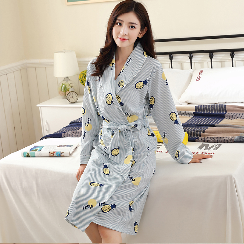 Spring And Autumn Women Knee-Length Long Sleeve Cotton Lounge Wear Home Bathrobe Loungewear Sleepwear Nightgown Robes M-4XL