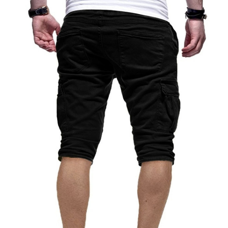 Men Casual Half Pants Multi-pockets Solid Color Breathable Male Pants For Summer FDC99