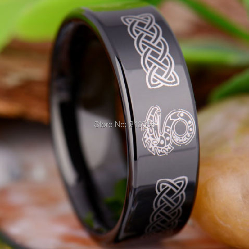 Free Shipping!USA Hot Sales E&C TUNGSTEN LUXURY JEWELRY 8MM COMFORT FIT SHADOW RUN DRAGO ...