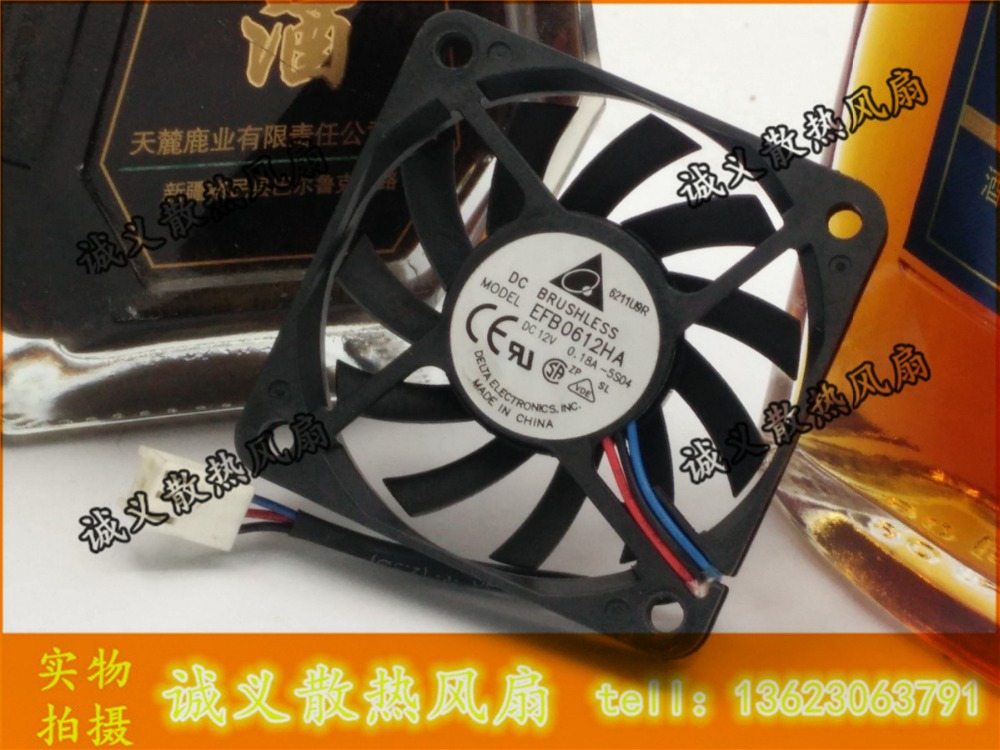 Delta 6010 EFB0612HA 12V 0.18A CPU ball bearing cooling fan 60 * 60 * 10MM free shipping y s tech 6cm 60 60 10mm 6 6 1cm 6010 fd126010hb 12v 0 24a 3wire cooling fan