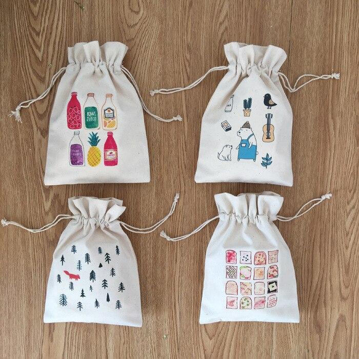 Junwell Creative Santa Claus Candy Bag Deer Drawstring Cotton Canvas Santa Sack Rustic Vintage Christmas Gift Bag Decoration